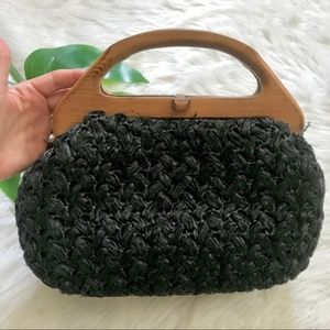 Vintage Black Straw Wicker Wooden Purse Bag